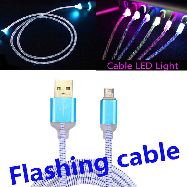 Flowing LED Visible Flashing USB Charger Cable Colorful Light Up Cord Lead for Samsung S7 S6 NOTE 5 Smart phones