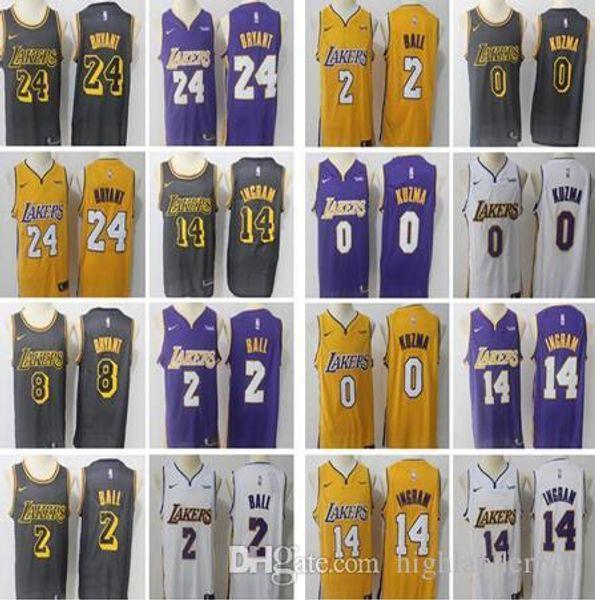 reputable site 2b8ae eb696 2018 2019 Men Los Angeles Lakers Jerseys 0 Kyle Kuzma 24 Kobe Bryant 2  Lonzo Ball 14 Brandon Ingram 2019 New Jersey From Highlander520, $14.23 |  ...