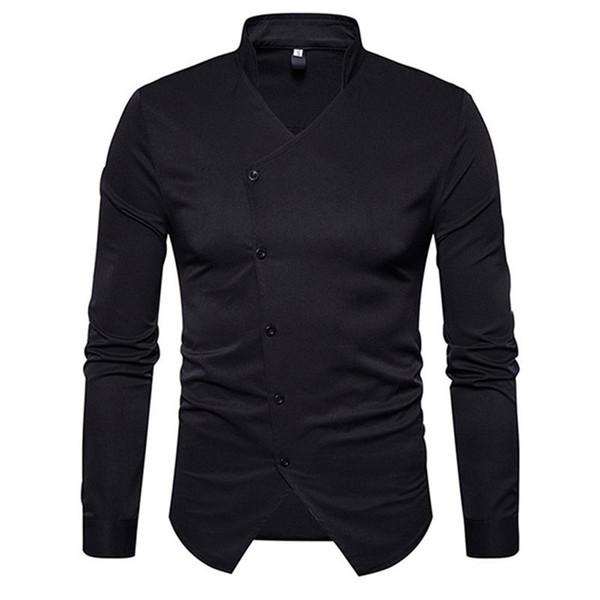 Camicia dello smoking del partito di pranzo di stile dell'Inghilterra Colletto del basamento maschio Blusa Camicetta sottile di colore solido Uomo bello Cime del cotone di affari Autunno