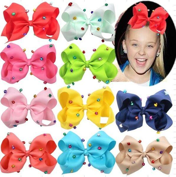 "XMAS GIFT ! 6"" Girls Hand-made Grosgrain Ribbon BOWS Jingle Bells Hair Bow Alligator Clips Hair Accessories for Little Girls 8pcs/"