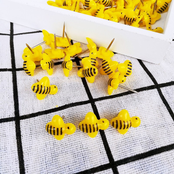 best selling 100 pcs lot Bees Push Pins Decorative Thumb Tacks Colorful for Feature Wall, Whiteboard, Corkboard, Photo Wall