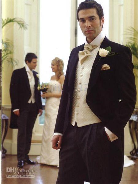 New Morning style Smoking dello sposo nero Picco risvolto Best Man Groomsman Abiti da sposo uomo Bridegroom (giacca + pantaloni + cravatta + gilet) 184