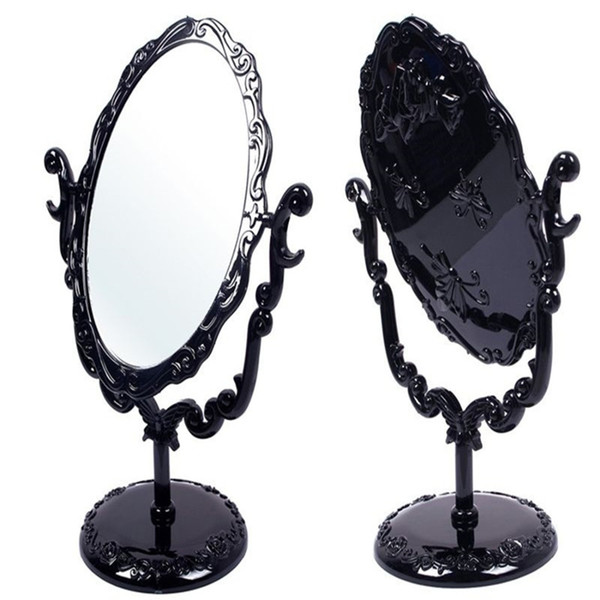 High Quality Makeup Desktop Rotatable Gothic Small Size Rose Stand Compact Mirror Black Butterfly Free Shipping