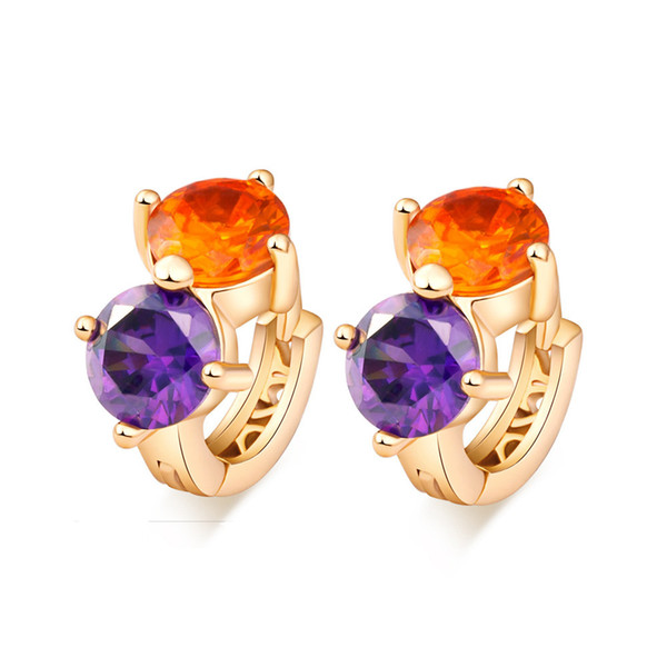 Fashion Women Orange Purple Zircon Hoop Earrings Real Yellow Gold Filled Colorful CZ Earrings Gift Free Shipping