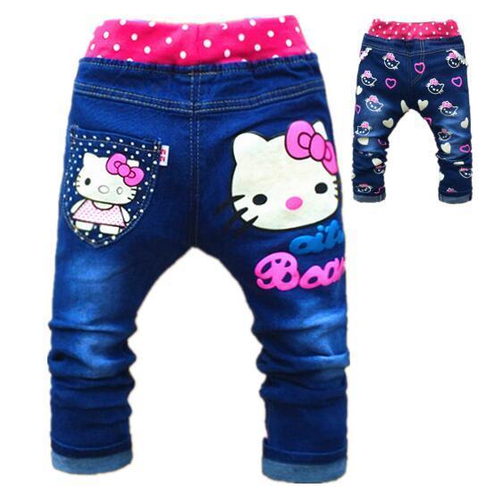 91906115d Kids Girls Jean Hello Kitty Pants Cashmere Pants Elastic Waist Girls ...