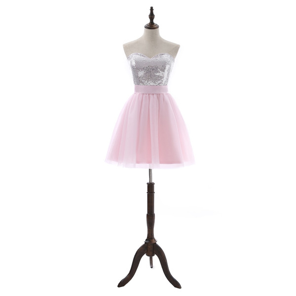 Pink Party dresses a-line Short-Sleeve Mini Tulle Plus Size Prom Dresses Sequins Elegant Backless Bow Cocktail Dresses DH378