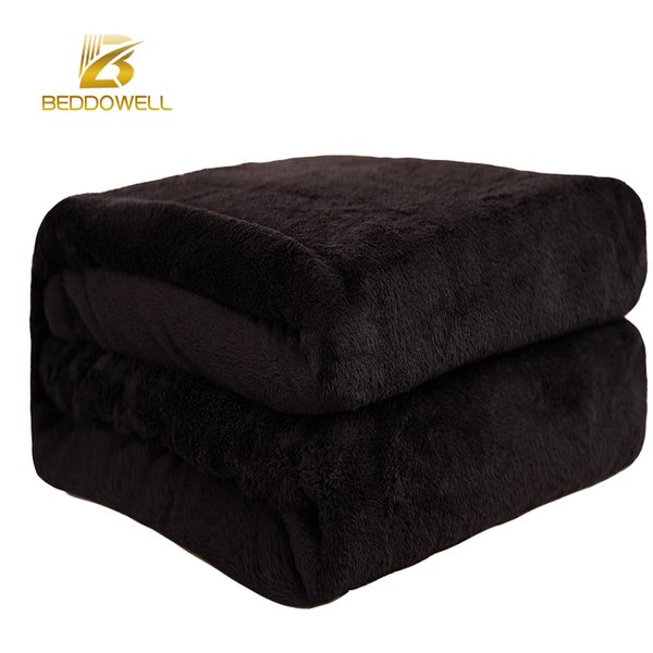 Beddowell Flannel Coral Fleece Blanket Polyester Black Color 5 Size Mink Throw Sofa Cover Plaid Sheet Soft Blankets On The Bed