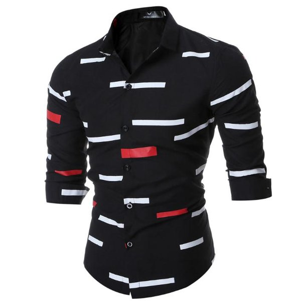 New Europe and the United States specifically for men long-sleeved shirt men Slim geometric print youth leisure long-sleeved shirt