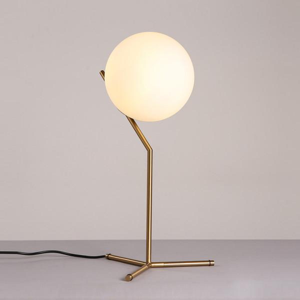 Modern White Glass Table lamp Globe Shade LED lamps Table Light Brass Living room bedroom beside home lighting F030