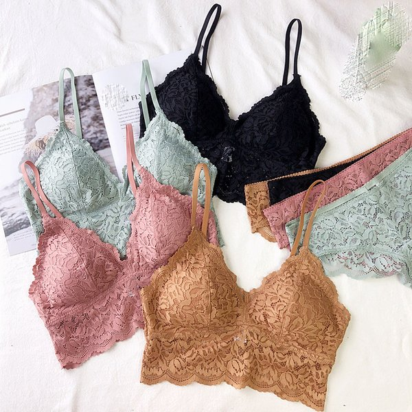 Full floral lace cup lingerie suits women sexy ultrathin bra with pad sleep clothes comfortable underwear deep-v female bra set