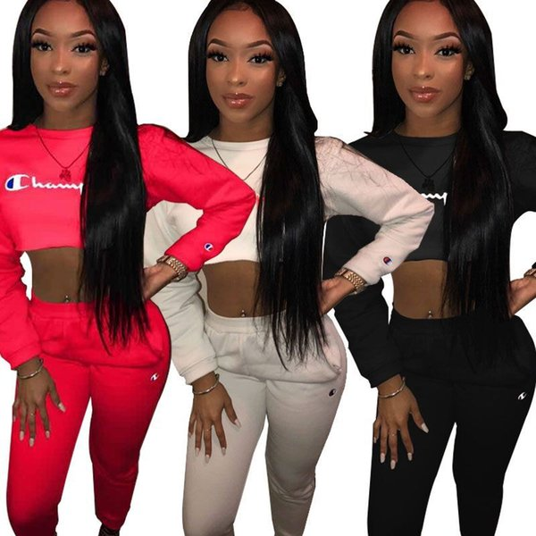 Hot Sale Suits Top Elegant Letter Printed Tracksuits Fashion Ladies 2 Piece Set O-Neck Long Sleeve Tees Full Length Bodycon Suits Newest