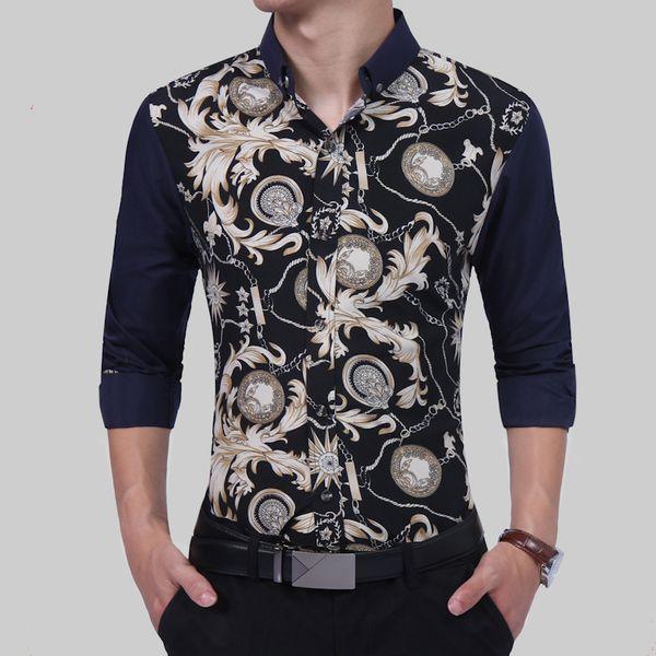 Brand 2018 Fashion Male Shirt Long-Sleeves British Print High Quality Casual Shirt Mens Dress Shirts Slim Men XXL