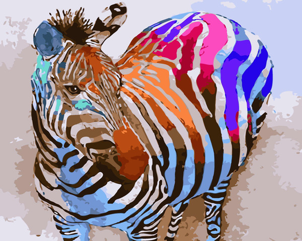 16x20 inches DIY Vintage Rainbow Color Zebra Paint by numbers Kit Art Paintings Acrylic Oil painting on Canvas
