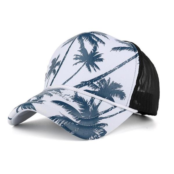 Kadın Erkek Hindistan Cevizi Ağacı Baskı Beyzbol Şapkası Snapback Hip Hop Düz Şapka Yaz Nefes Mseh Ayarlanabilir Siyah Mavi Yeşil ...