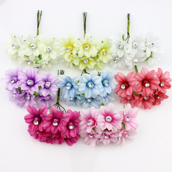 HUADODO 3cm 6pieces Artificial Lily flower Bouquet,silk plum crystal flowers for wedding decoration Garland Flowers Plants