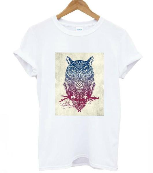 Women's Tee Harajuku Owl Print Women T Shirt Cotton Casual Funny Shirt For Lady White Top Tee Hipster Drop Ship T - 209