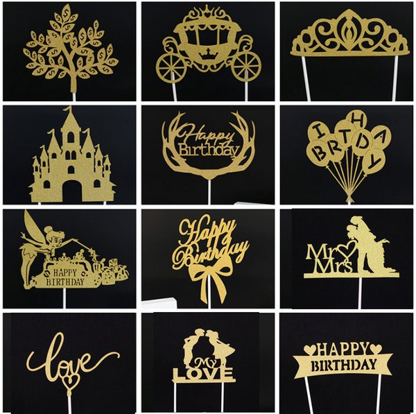 2pcs/lot Gold Silver Happy Birthday Party Cake Toppers Decoration for kids birthday party favors Baby Shower Decoration Supplies