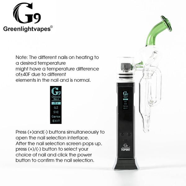 Original G9 Greenlightvapes TC Port Kit Water Pipes Glass Smoking Vaporizer  Pen Portable Temperature Control DHL 3 7 Days Kuro Koiler Tool Pickup