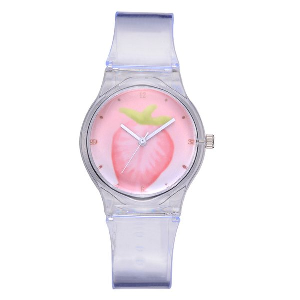 Watch Transparent Clock Silicone Watches Women Sport Quartz Wristwatches Fruit Novelty Crystal Lady Watch Cartoon reloj mujer F#