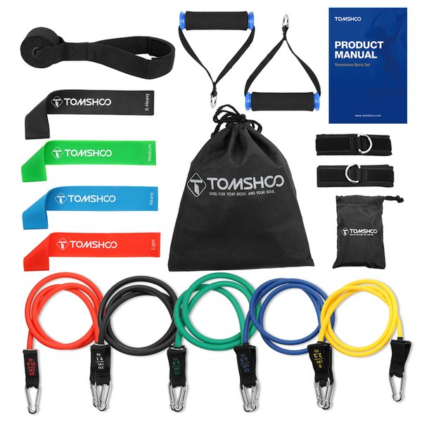 TOMSHOO 17Pcs Resistance Bands Set Fitness Rubber Band Yoga Gym Exercise Elastic Loop Band Door Anchor Ankle Straps Set with Bag