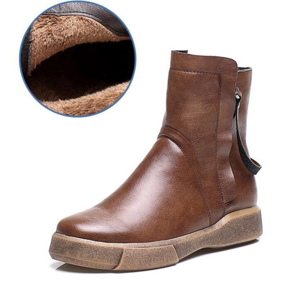 best quality pu leather women boots warm vintage style flat ankle boots for women short fur inside zx874