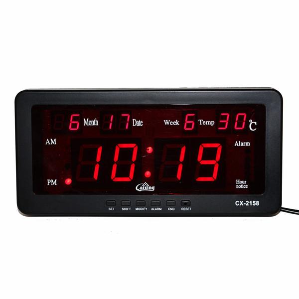 Электронный будильник Цифровой светодиодный календарь Часы с неделей и датой Температура в помещении Функция почасового звонка Светодиодные настенные часы