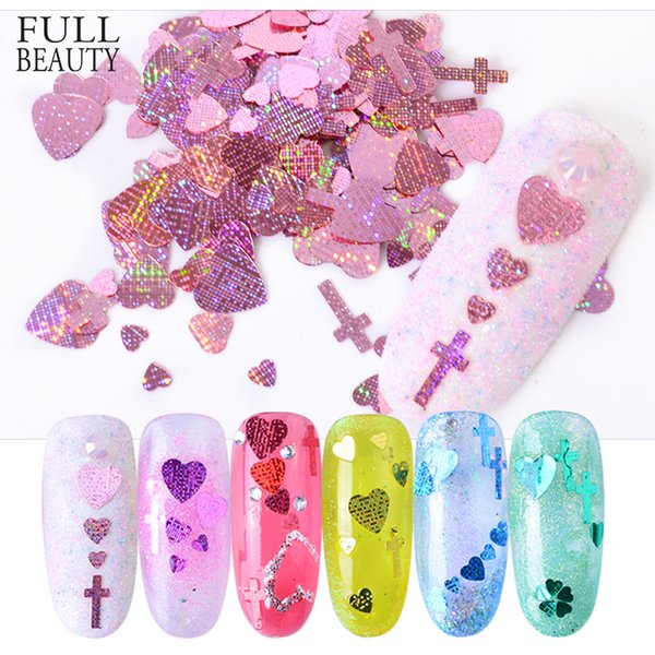 Full Beauty Nail Sequins Colorful Heart Cross Shape Nail Art Flakes 3D Shiny Paillettes Glitter Design DIY Decoration Tips CHFL