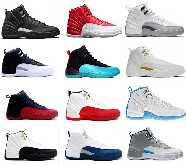 High Quality 12 12s OVO White Gym Red Dark Grey Basketball Shoes men Women Taxi Blue Suede Flu Game CNY Sneakers size 36-47