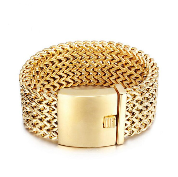 30MM Wide Men Fashion Brand Bracelet Jewelry Gold boys 316L Titanium Stainless Steel Biker Mesh Bracelets Best Friends Men's Bangle
