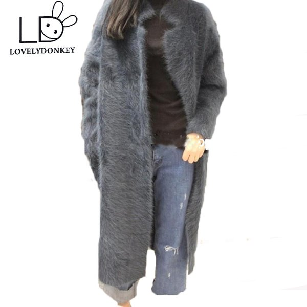 LOVELYDONKEY mink cashmere sweater women cashmere cardigan knitted mink jacket fashion winter long fur coat free shipping M283