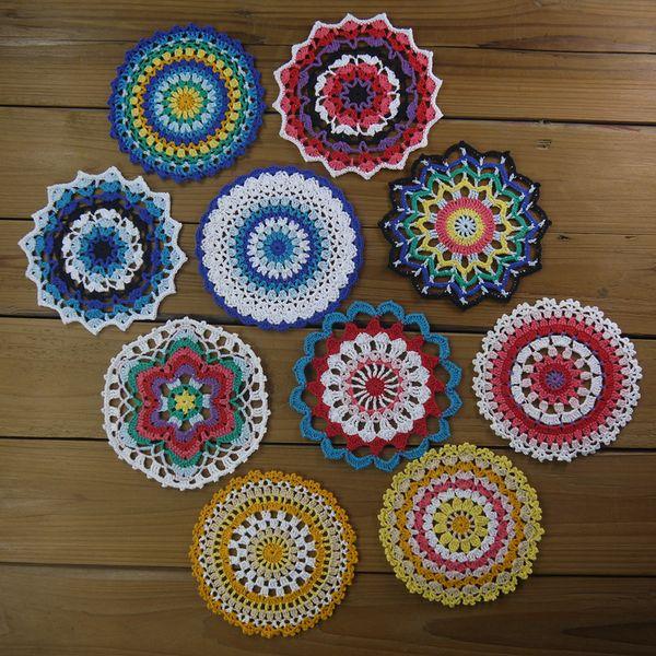 10 Lace Round doily pattern Crochet mandala doily pattern Colorful Table centerpiece Coaster pattern Tablecloth Doily