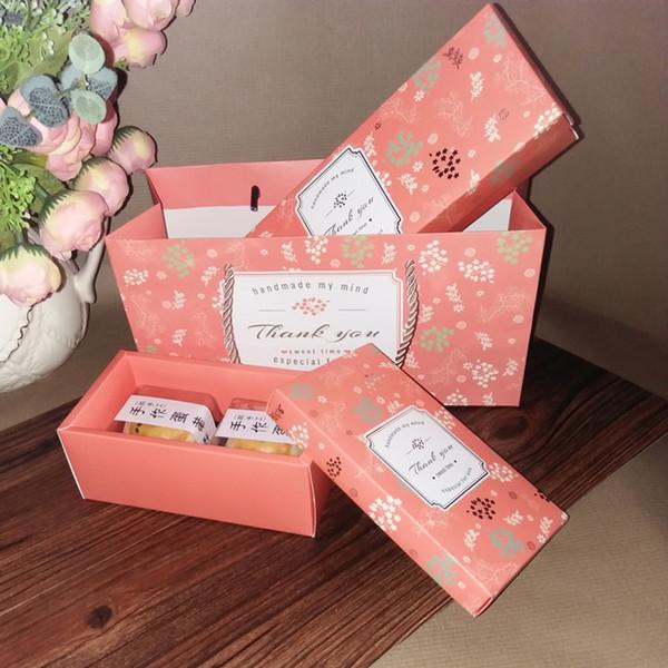 O punho de empacotamento da caixa de Macaron do papel ensaca a caixa de presente / sacos do favor do banquete de casamento da caixa da sobremesa / biscoito / cupcake