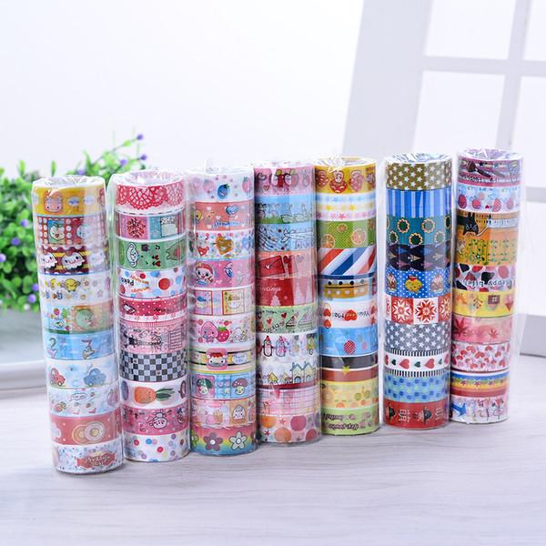 best selling 2016 Korea Kawaii Adhesive Tapes Handmade Cute Self Adhesive Washi Masking DIY Tape Stickers Scrapbooking Label Tapes kids Gift