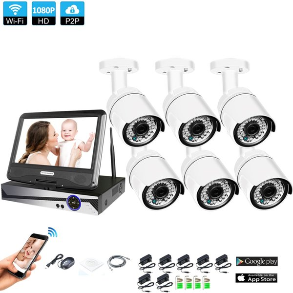 """Wireless Surveillance System Network 10.1"""" LCD Monitor NVR Recorder Wifi Kit 6CH 1080P HD Video Inputs 6PS 2.0MP Security Camera"""