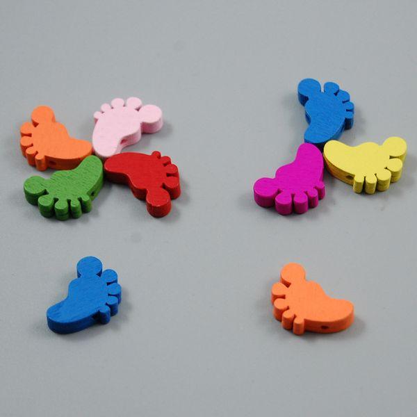 best selling 100pcs Mixed Colors feet Shape Wood Beads Lot Craft Kids Jewelry Making 15MM