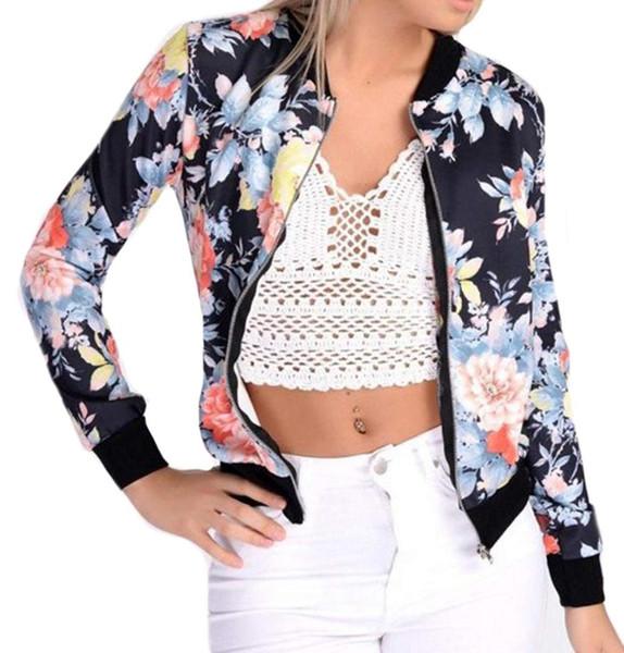 Women's Casual Floral Print Zip-Up Lightweight Bomber Jacket