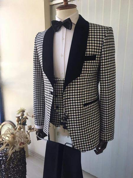 Cool One Button Jacquard Groomsmen Shawl Lapel Groom Tuxedos Men Suits Wedding/Prom/Dinner Best Man Blazer(Jacket+Pants+Tie+Vest)