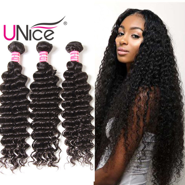 UNice Hair Virgin 8A Wholesale Brazilian Deep Wave Hair Bundles Unprocessed 100% Human Hair Weaves Cheap Bulk Nice Curl 12-26 inch