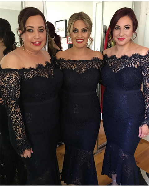 Navy Blue Lace Bridesmaid Dresses Long Sleeves Bateau Neck Mermaid Formal Evening Gowns Plus Size Mother Of The Bride Dress