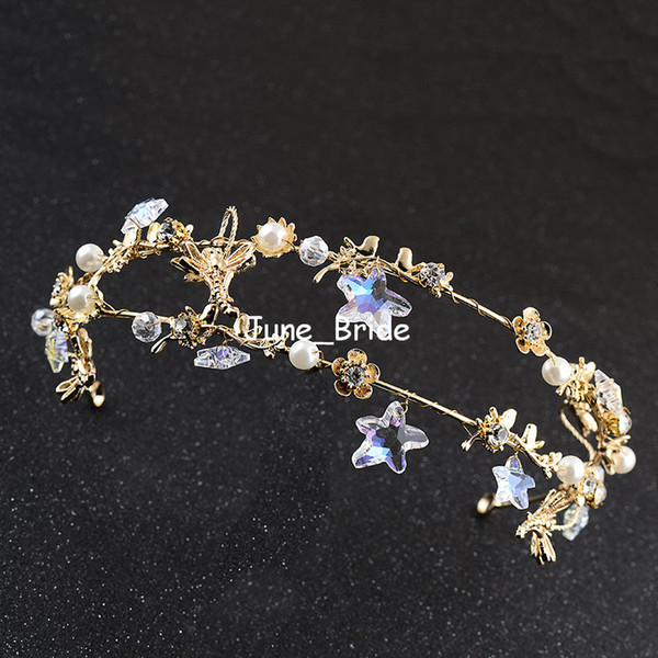 Fairy Baroque Gold Headpiece New Style Romantic Star Floral Pearl Double Row Bridal Tiara Free Shipping Prom Party Hair Jewelry Accessory