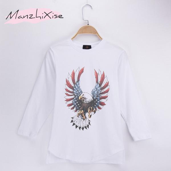 2018 Fashion Spring Brand Children Long T-shirts Eagle 100% Cotton Knit Full Child Shirts Kids Boy T Shirt Baby Clothing Girls Tops Tee