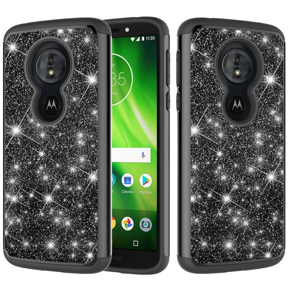 New Hybrid Armor Rubber Phone Case For Moto E4 US E5 Play E5 Cruise G6 Play Bling Glitter Heavy Duty Back Cover