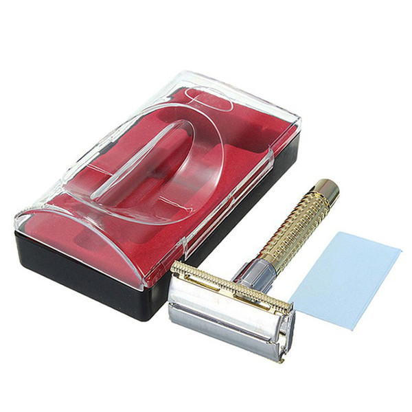New Arrival New Men's Safety Handheld Manual Shaver + Double Edge Safety Razor Blade Box free shipping