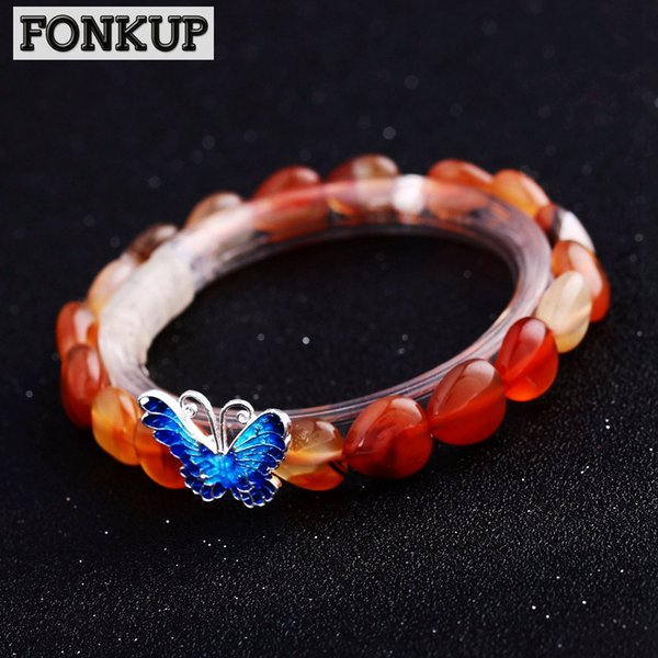 Forkup Trendy Women Bracelets Red Agate Gem Bangle Heart Hand Chain Party Jewellery Lucky 925 Silver Accessories Blue Butterfly
