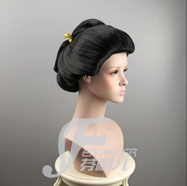 2017 frau Schwarz Japanischen Geisha Flaxen Haar Synthetische Tägliche Cosplay Perücke