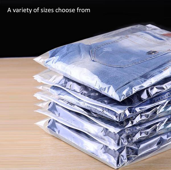 100Pcs 45x55cm Transparent Clothing Zipper Packaging Bag,Organize Storage Bag,Plastic Packaging Bags