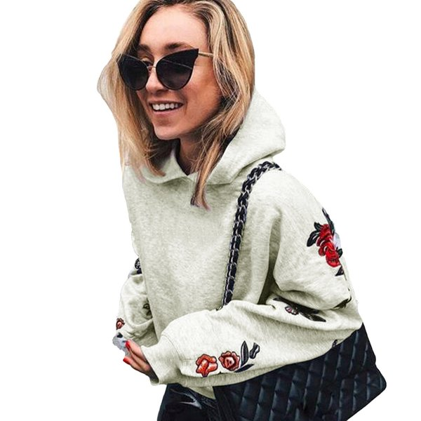 New Autumn Winter Women Hoodie Sweatshirts Butterfly Floral Print Long Sleeve Pullover Hooded Loose Tops Grey/Black/Blue/Yellow