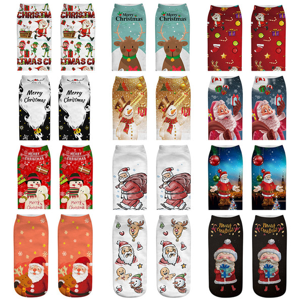 Christmas Socks Women 3D Socks 2019 New Year Gift Kawaii Calcetines Femme lady Cute Emoji Funny Sock Santa Claus,Elk,Snowman hot