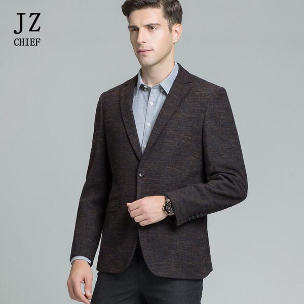 JZ CHIEF Café Tweed Blazer Vestes Hommes Vêtements D'affaires Slim De Mariage Costumes Casual Office Travail Veste Printemps Automne Plus La Taille