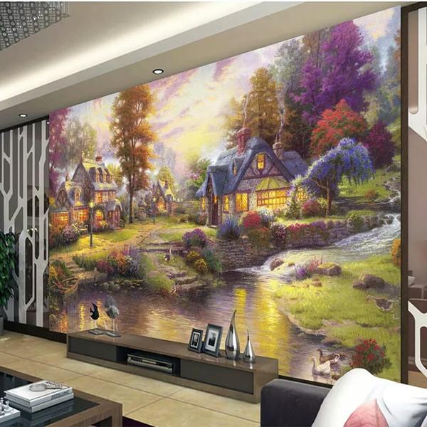Benutzerdefinierte Fototapete Thomas Stil Waldlandschaft Wandbild Wohnzimmer Schlafzimmer TV Hintergrund Wand Dekoration 3D Wandbild Wandpapier